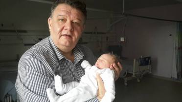 Proud Grandad with Eleanor Grace Summers aged 4 hours.